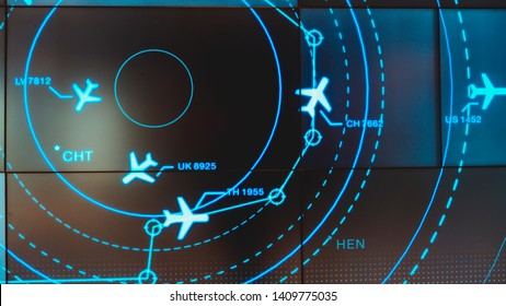 Simulation screen showing various flights for transportation and passengers. - Shutterstock ID 1409775035