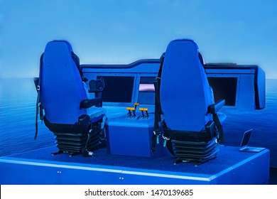 Simulator for sailors. Maritime training. Ship control. Training bridge with equipment to control the ship. Development of quick decision-making skills by seafarers