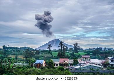 Sinabung volcano eruption at sunrise, North Sumatra, Indonesia