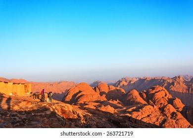 Sinai mountains at dawn in the Egyptian desert