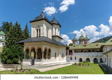 Sinai, Romania - July 7th 2018 - Sinaia is a town in central Romania's Bucegi Mountains, surrounded by ski trails. Its 17th-century Sinaia Monastery was once a royal family residence