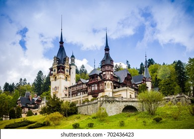 SINAIA - MAY 8: Peles Castle on May 8, 2016 in Sinaia, Romania. It is a grand palatial alpine villa with over 170 rooms combining different features of classic European styles, built for King Carol I.