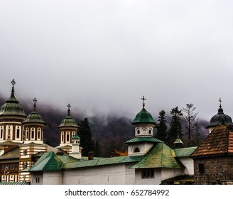 Sinaia orthodox church outside the monastery walls. Dramatic clouds seen above.