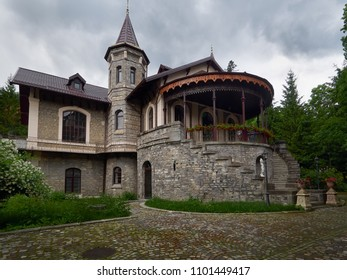 Sinaia, Prahova/Romania - 07/19/2017: The Stirbey Castle in Sinaia is the former summer residence of princess Alina Stirbey and General Emanuel Florescu.