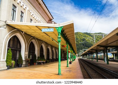 Sinaia, Romaina - September 27, 2018 - Railway station in historical town of Sinaia, home to skiing resort and royal Peles castle
