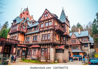 SINAIA, ROMANIA, 20 November, 2016: Beautiful Pelisor castle in Sinaia, Carpathian Mountains, Romania
