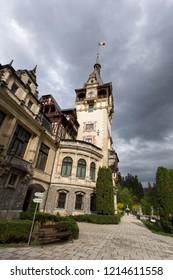 SINAIA, ROMANIA - APRIL 27: Peles castle in Sinaia on April 27, 2018