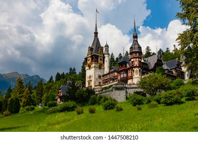 Sinaia, Romania - August 17th, 2018: Peles castle, palace of Carol the first, king of Romania, located in Sinaia, Romania