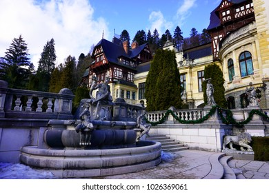 Sinaia / Romania - February 10, 2018 : Castle Peles is the most important tourist attraction point even in winter time at Sinaia, Romania