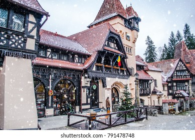Sinaia, Romania - January 02, 2016: Authentic mountain lodges, holiday and family enjoyment, Romania, Sinaia