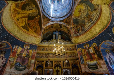 sinaia, Romania, July 13, 2018: interior of the old chapel in the Sinaia monastery, Rumania.