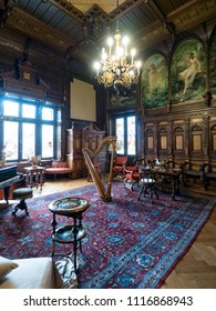 Sinaia, Romania - June 24, 2017 : interior view of Peleș Castle, a Neo-Renaissance castle in the Carpathian Mountains, built between 1873 and 1914.
