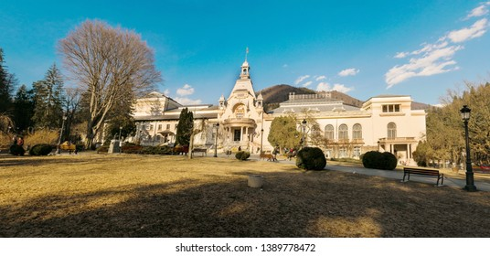Sinaia, Romania - March 09, 2019: View of Casino Sinaia in Prahova county, Romania.