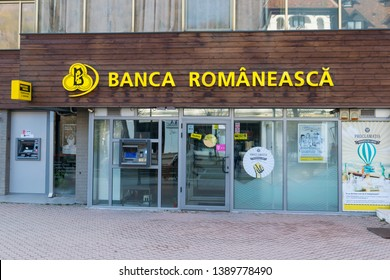 "Sinaia, Romania - March 09, 2019: ""Banca Romaneasca"" romanian bank branch situated  in Sinaia,  Prahova, Romania."