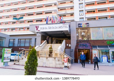 Sinaia, Romania - March 09, 2019: entrance at Rina Sinaia Hotel in Sinaia, Prahova Valley, Romania.
