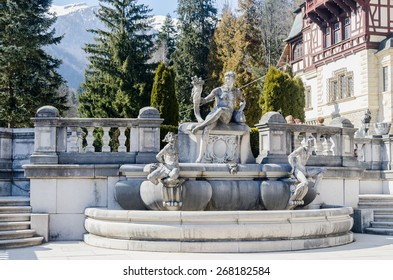 "SINAIA, ROMANIA - MARCH 21, 2015. Detail of The Castle ""Peles"", exterior fountain, own by Regele Mihai (King Michael) of Romania, now works as museum."