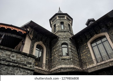 SINAIA, ROMANIA - NOVEMBER 7, 2018.  The Stirbey Castle, summer residence of princess Alina Stirbey and General Emanuel Florescu, oldest civilian building in Sinaia, Sinaia City Museum today.