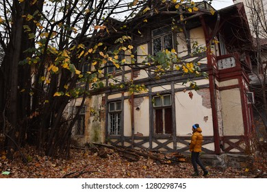 SINAIA, ROMANIA - NOVEMBER 7, 2018. Sinaia documentary project. Abandoned house in the center of Sinaia, Prahova Valley.