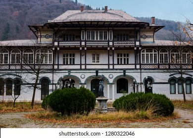 SINAIA, ROMANIA - NOVEMBER 7, 2018. House Slătineanu (Vila Salamandra), now BCR Bank of Sinaia town, Romania.