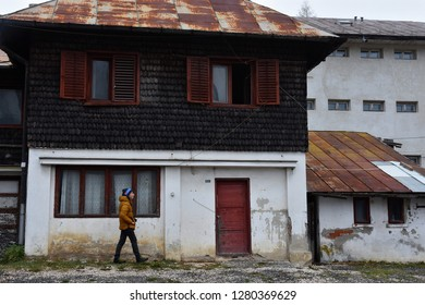 SINAIA, ROMANIA - NOVEMBER 7, 2018. Sinaia documentary project. Abandoned house in the center of Sinaia, Prahova Valley, Romania.