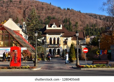 SINAIA, ROMANIA - NOVEMBER 7, 2018. Sinaia cityscape and street view. City Hall Sinaia building , Prahova Valley , Romania.