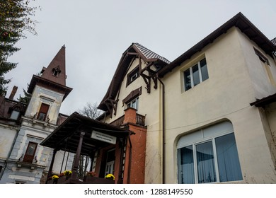 SINAIA, ROMANIA - NOVEMBER 7, 2018. The city hospital Sinaia. pediatric department , old historical house in Sinaia, Romania.