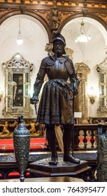 Sinaia, Romania, October 05, 2017 : The statue in the inner room of the Peles castle in Sinaia, in Romania