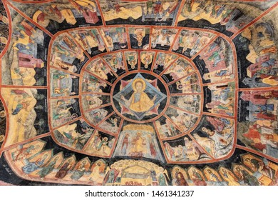 Sinaia, Romania - October 26, 2018: ancient frescoes on the Old Church's roof (Biserica Veche), inside the Sinaia Monastery