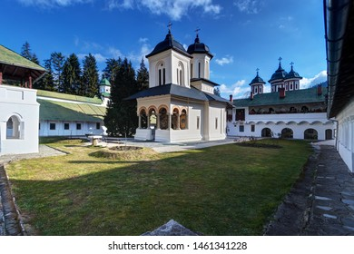 "Sinaia, Romania: the ""Old Church"" (Biserica Veche) in Sinaia Monastery against a blue sky"
