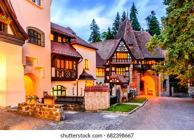 Sinaia, Romania. Typical architecture with german influence in the city from Carpathian Mountains.