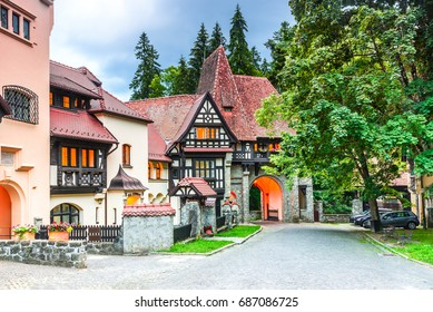 Sinaia, Romania. Typical architecture with german influence in the city from Carpathian Mountains, Peles.