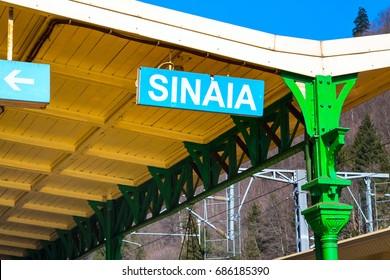 Sinaia town name at the train station platform, Romania