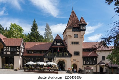 SINAIA, WALLACHIA/ROMANIA - SEPTEMBER 21 : Cafe and gift shop at Peles Castle in Sinaia Wallachia Romania on September 21, 2018. Unidentified people