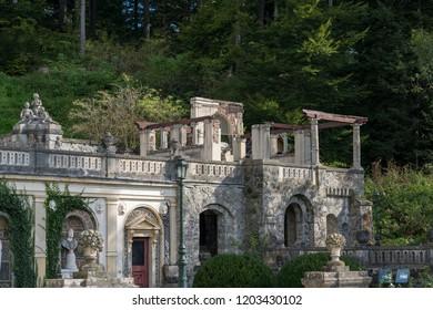 SINAIA, WALLACHIA/ROMANIA - SEPTEMBER 21 : Exterior view of Peles Castle in Sinaia Wallachia Romania on September 21, 2018