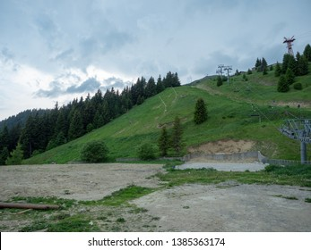 Sinaia/Romania - June 02 2018: The 1400 station of the Gondola in Sinaia. The Gondola was opened in 2007 and reaches the altitude of 2000 metres.