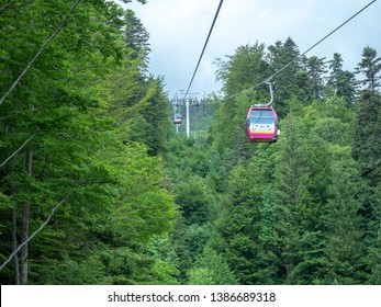 Sinaia/Romania - June 02 2018: Gondolas on the way to 1400 station. The Gondola was opened in 2007 and reaches the altitude of 2000 metres.