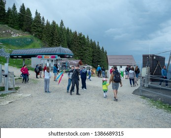 Sinaia/Romania - June 02 2018: People at the 1400 station of the Gondola in Sinaia. The Gondola was opened in 2007 and reaches the altitude of 2000 metres.