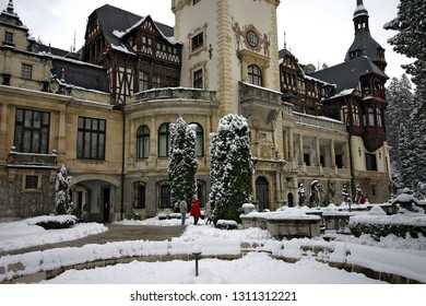 Sinaia/Romania - November 11 2005: Detail of the Peles castle, Sinaia, Romania during winter. Peles is a Neo-Renaissance castle in the Carpathian Mountains, near Sinaia, in Prahova County.
