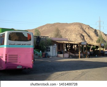 Sinai/Egypt - April 20, 2008: a bus stop location on the Sinai Peninsula, on the road that connects Dahab to Luxor, Egypt.