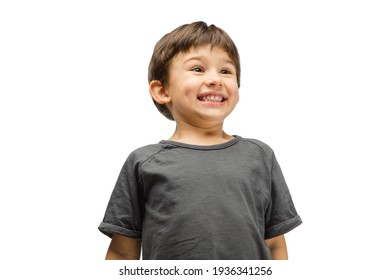 Sincere. Happy, smiley little caucasian boy isolated on white studio background with copyspace for ad. Looks happy, cheerful. Childhood, education, human emotions, facial expression concept.