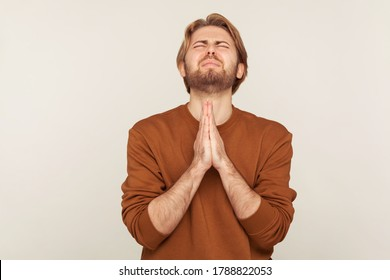 Sincere request to god. Portrait of imploring man with beard in sweatshirt praying up heartily, feeling guilty, pleading begging help from heaven. indoor studio shot isolated on gray background
