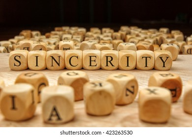 Sincerity word written on wood block