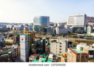 sinchon and yonsei university severance hospital buildings viewed from top. Sinchon is a famous college town in Seoul, South Korea. Taken on February 13 2019