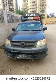 A Sindh Police surveillance mobile vehicle parked at roadside - Karachi Pakistan - Oct 2019