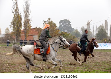 Sindirgi, Balikesir/Turkey - 11/15/2015: Turkish Javelin Game during Etnospor Culture Festival