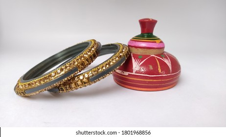 Sindoor (vermilion), Red powder of vermilion. Sign of a married woman in Hindu's or Indian's. Soft focus on vermilion