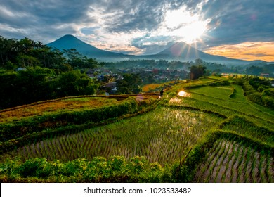 Sindoro mountain and Sumbing mountain is a twin mountain in Central Java Indonesia, This view is sunrise moment from ricefield Wonosobo Indonesia
