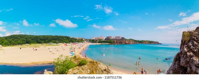 SINEMORETS, BULGARIA, JULY  2, 2018: sunny day on Butamyata beach , Bulgaria.