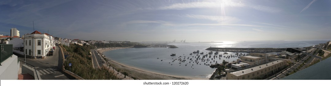 Sines fishing port panoramic, Portugal