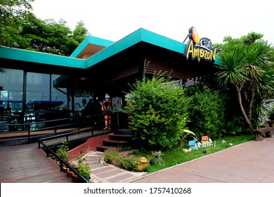Sing Buri , Thailand - June14,2020 : Cafe Amazon beverage shop at PTT Oil station. It's a famous Thai franchise coffee house in Thailand.